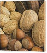 Nuts On Burlap Wood Print