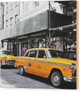 Ny Streets - Yellow Cabs 1 Wood Print