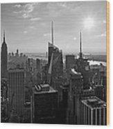 Ny Times Skyline Bw Wood Print