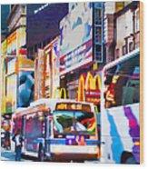 Ny Times Square Impressions Iv Wood Print