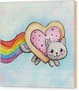 Nyan Cat Valentine Heart Wood Print