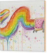 Nyan Cat Watercolor Wood Print