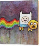 Nyan Time Wood Print by Olga Shvartsur