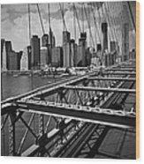 Nyc Brooklyn Bridge View Wood Print