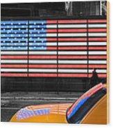 Nyc Cab Yellow Times Square Wood Print by John Farnan