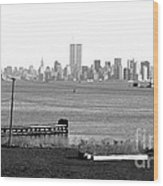 Nyc In The Distance 1990s Wood Print by John Rizzuto