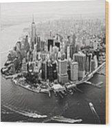 Nyc Manhattan Aerial Wood Print