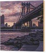 Nyc- Manhatten Bridge At Night Wood Print by Hannes Cmarits