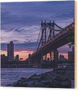 Nyc - Manhatten Bridge At Night II Wood Print by Hannes Cmarits