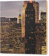 Nyc Midtown Golden Lights Wood Print