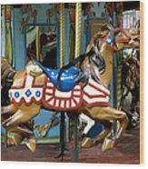 Nyc - Old Glory Pony Wood Print by Richard Reeve