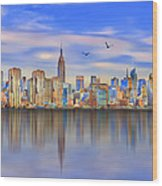 Nyc Reflections Wood Print