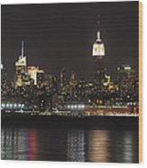 Nyc Skyline At Night Wood Print
