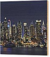 Nyc Skyline Full Moon Panorama Wood Print by Susan Candelario