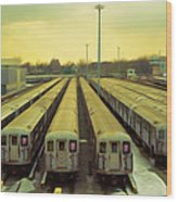 Nyc Subway Cars Wood Print