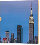 Nyc Under The Supermoon Wood Print