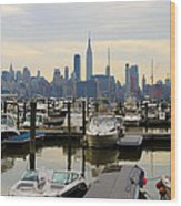 Nyc View From Lincoln Harbor Weehawkin Nj Wood Print