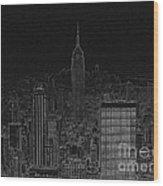 Nyc White On Black Wood Print