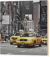 Nyc Yellow Cabs - Ck Wood Print