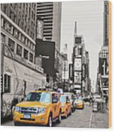 Nyc Yellow Cabs Wood Print
