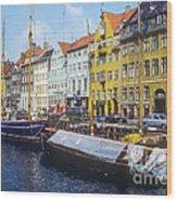 Nyhavn Boat Docks Wood Print