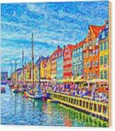 Nyhavn In Denmark Painting Wood Print