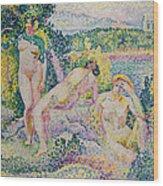 Nymphs Wood Print by Henri Edmond Cross