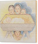 O Come Little Children - Christmas Card Wood Print