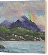 Oahu North Shore Rainbow Wood Print