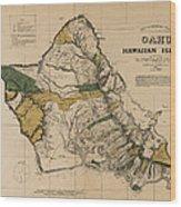 Oahu Sovereign Hawaii Map  1881 Wood Print
