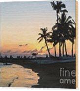 Oahu Sunset Wood Print