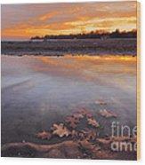 Oak Leaf And Beach Sunset Wood Print