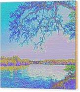 Oak On The Sacramento River - Pastel Wood Print