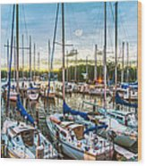 Oak Pt Harbor At Sundown Wood Print