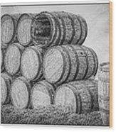 Oak Wine Barrels Black And White Wood Print