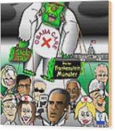 Obama Care Frankenstein Balloon Wood Print
