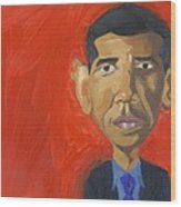 Obama Caricature Wood Print by Isaac Walker