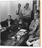 Obama In White House Situation Room Wood Print