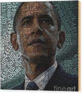Obama Text Art Wood Print