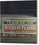 Occident Flour Sign Wood Print