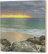 Ocean At Dawn Wood Print