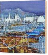 Ocean City Maryland At Night - Blue Wood Print