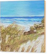 Ocean Fence Wood Print