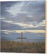 Ocean Grove Nj Beach Cross Wood Print