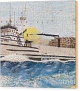 Ocean Olympic King Crab Fishing Boat Nautical Chart Map Art Wood Print