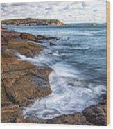 Ocean On The Rocks Wood Print