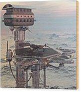 Ocean Refueling Platform Wood Print
