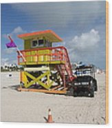 Ocean Rescue Miami Wood Print