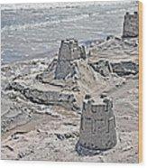 Ocean Sandcastles Wood Print by Betsy Knapp
