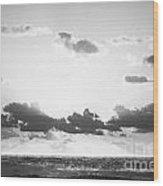 Ocean Sunrise Black And White Wood Print